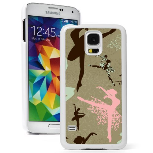 Samsung Galaxy (S5 Active) Hard Back Case Cover Ballerina Dancers Pattern (White)