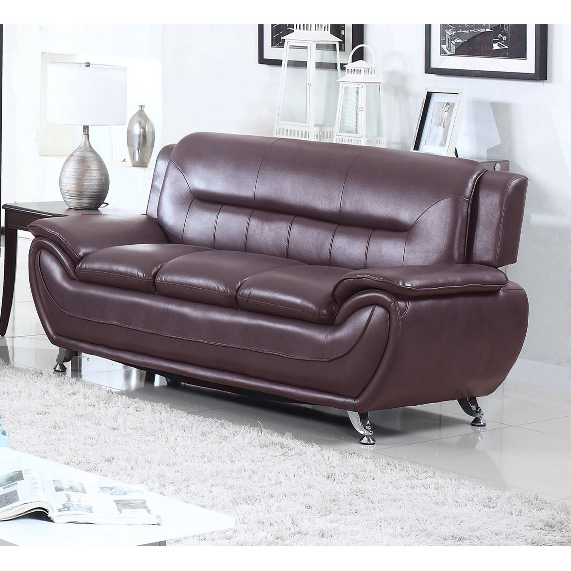 UFE Norton Dark Brown Faux Leather Modern Living Room Sofa