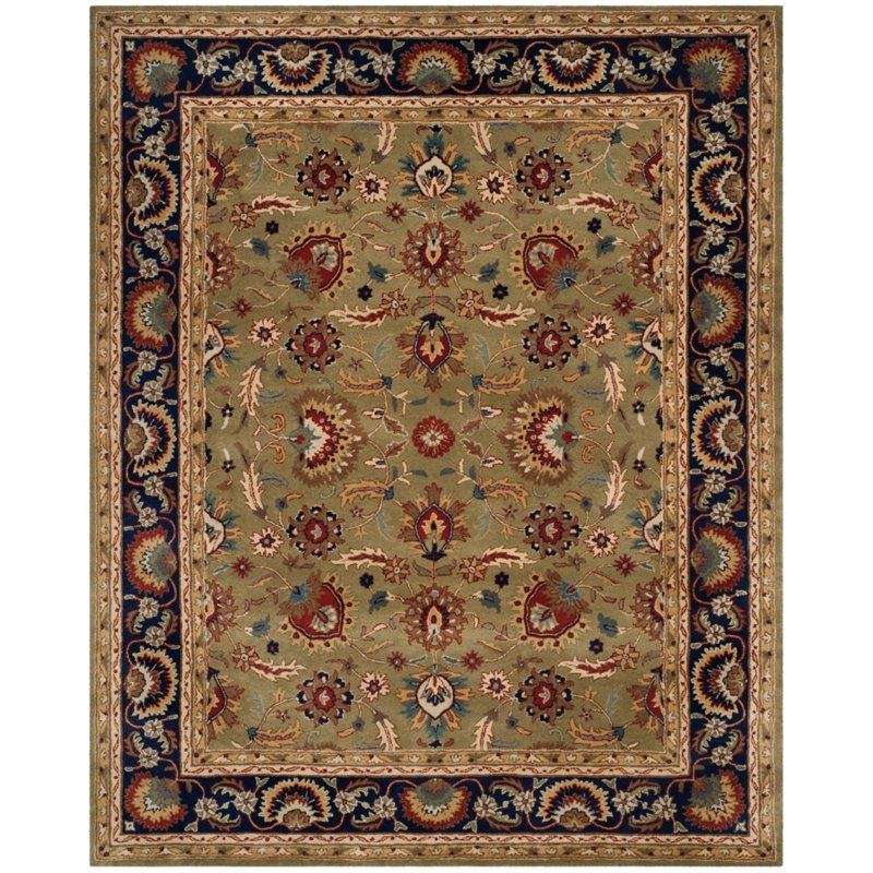 Safavieh English Manor 8 X 10 Handmade Wool Rug In Green And Navy