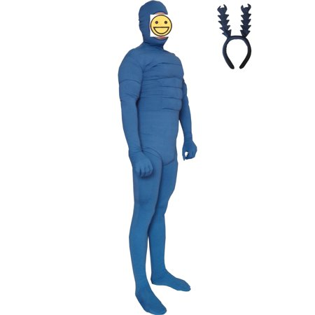 Cosplay Men (The Tick Adult Costume Body Suit Cartoon Lycra Spandex Mens Unisex)