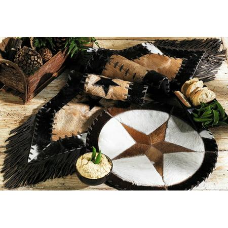 - Cowhide Star Western Table Runner - Western Dining Tableware