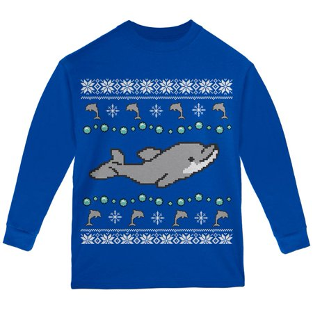 Ugly Christmas Sweater Design.Ugly Christmas Sweater Dolphin Youth Long Sleeve T Shirt