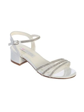 6d4f608698cf Product Image Little Girls White Sparkle Rhinestone Strap Block Heel Sandals