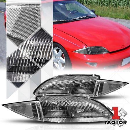 Black Housing Headlight Clear Turn Signal Reflector For 95 99 Chevy Cavalier 96 97 98