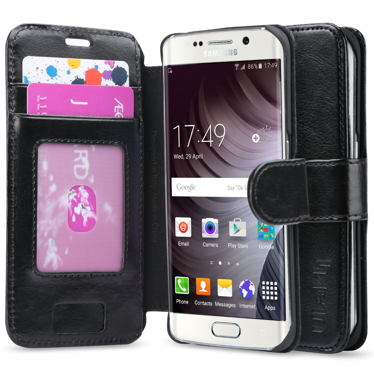 """Galaxy S6 Edge Case, ULAK [Slim Flip Wallet] Premium PU Leather Wallet Case with Credit Card Slots for Samsung Galaxy S6 Edge (5.1"""" inch) 2015 Release"""
