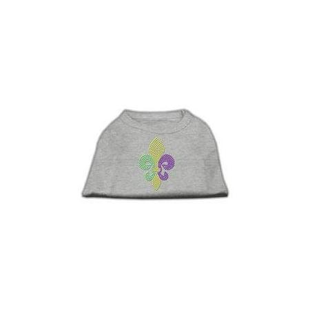 Mardi Gras Fleur De Lis Rhinestone Dog Shirt Grey XL (16)