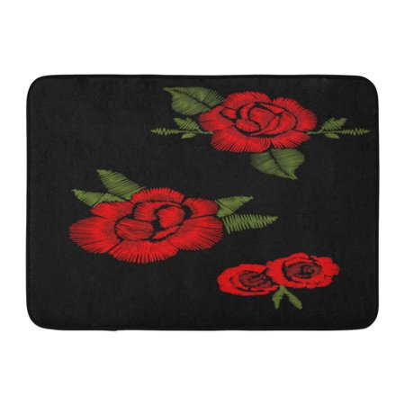 7a04af8ec18d8 GODPOK Drawn Black Flower Red Roses Embroidery Patch Embroidered Rug  Doormat Bath Mat 23.6x15.7 inch - Walmart.com