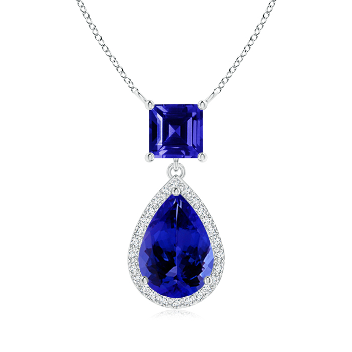 Mother's Day Jewelry Necklace Square and Pear Tanzanite Pendant with Diamond Halo in .925 Sterling Silver (10x7mm... by Angara.com
