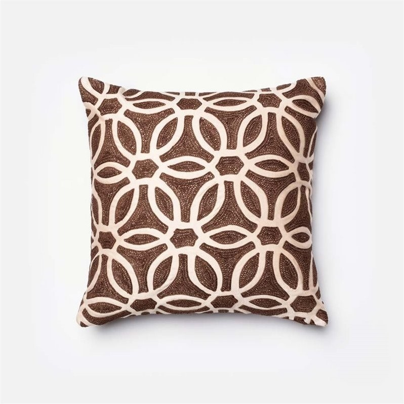 Loloi Brown and Beige 18-Inch Decorative Pillow with Down Insert
