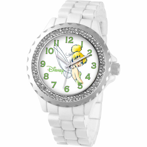 Disney Tinker Bell Women's Enamel Watch, White Bracelet