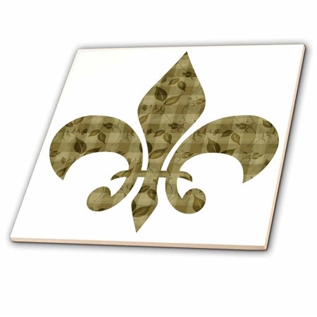 3dRose Gold floral and leaves french fleur de lis - Ceramic Tile, (Fleur De Lis Ceramic Tile)