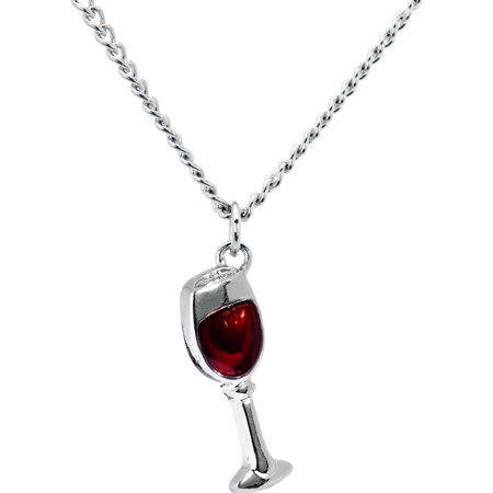 Body Candy Stainless Steel Chain Red Wine Glass Pendant Necklace, 18
