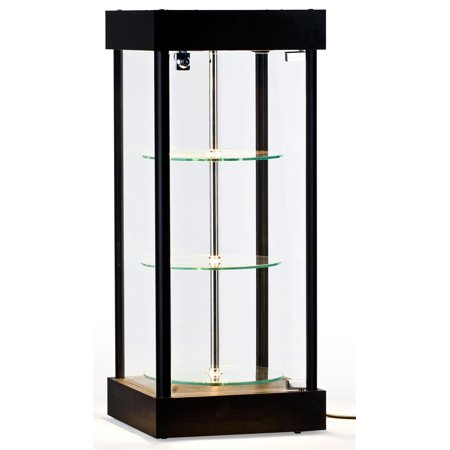 Lighted Glass Display Shelves (Spinning Glass Display Case With Halogen Top Lights, 14-1/4