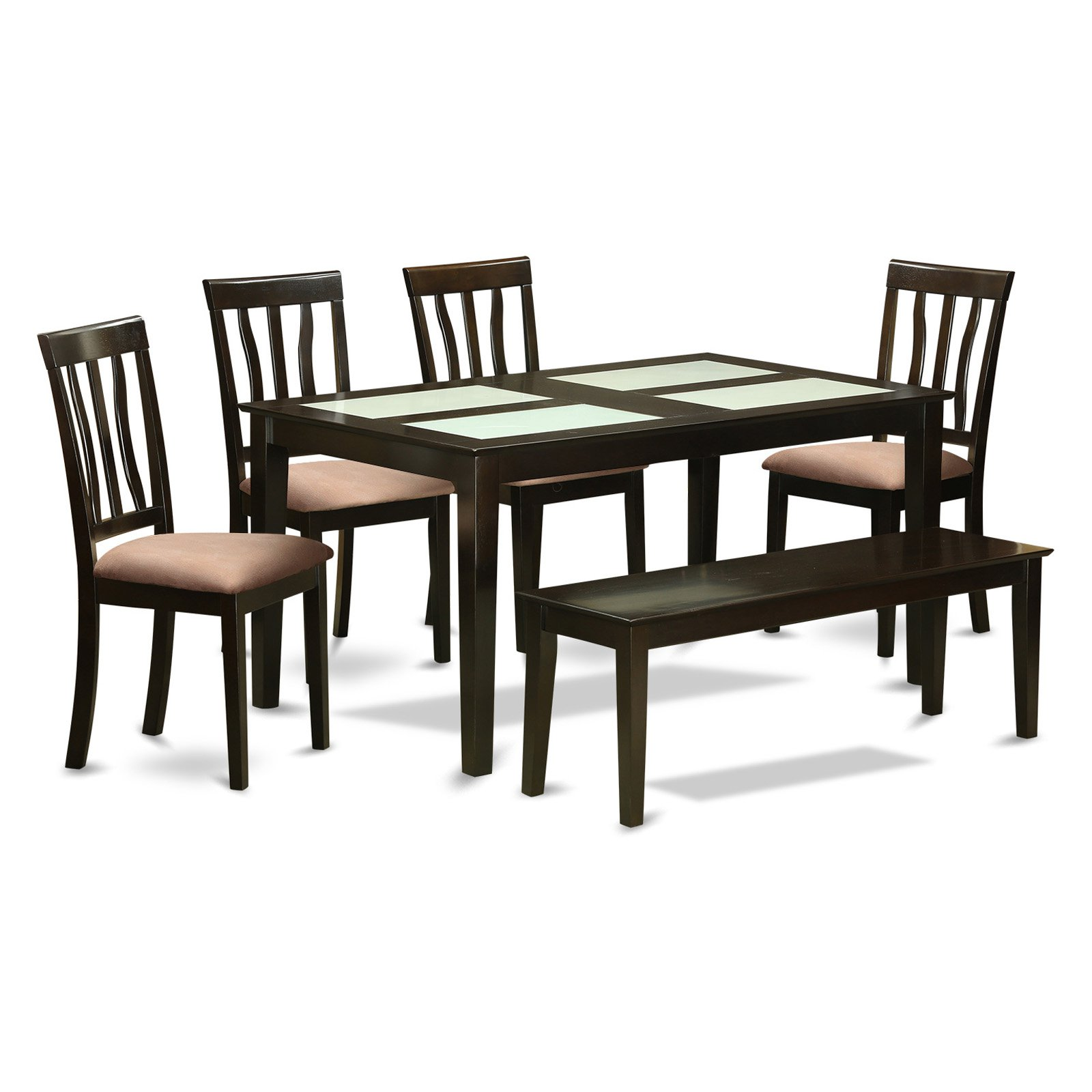 East West Furniture Capri 6 Piece Splat Back Glass Top Dining Table Set