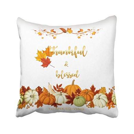 WinHome Decorative Pillowcases Thankful Blessed Golden Thanksgiving Photo Throw Pillow Covers Cases Cushion Cover Case Sofa 18x18 Inches Two Side