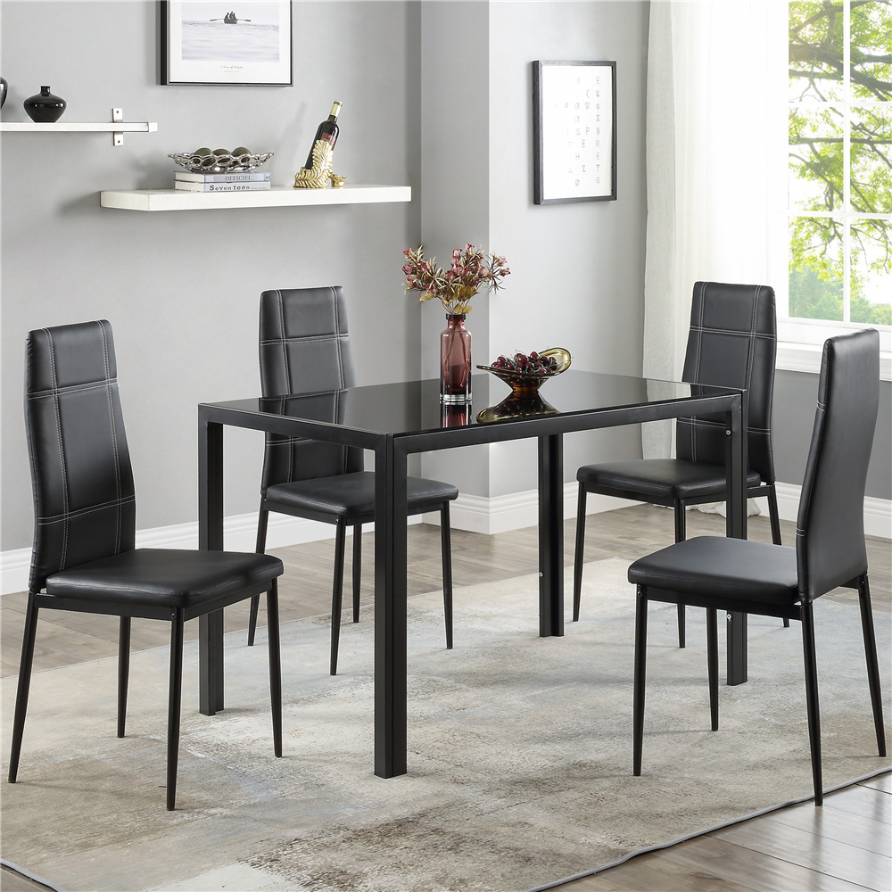 Black Dining Table Set for 9, Modern 9 Piece Dining Room Table Sets with  Tempered Glass Table and Leather Dinning Chairs, Heavy Duty Rectangular ...
