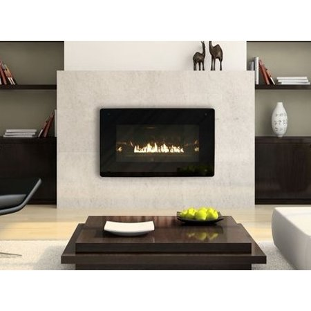 Loft Vent-Free Natural Gas Fireplace with Black Porcelain Liner and Burner Cover, Zero Clearance, Millivolt, 28,000 Btu