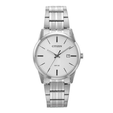 BI5000-52A Men's Silver Tone Stainless Steel White Dial Quartz Date Watch