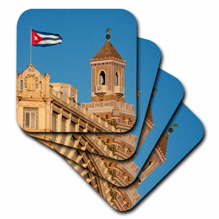 3dRose Cuba, Havana. Cuban Flag, Bacardi Building in Background, Soft Coasters, set of 4
