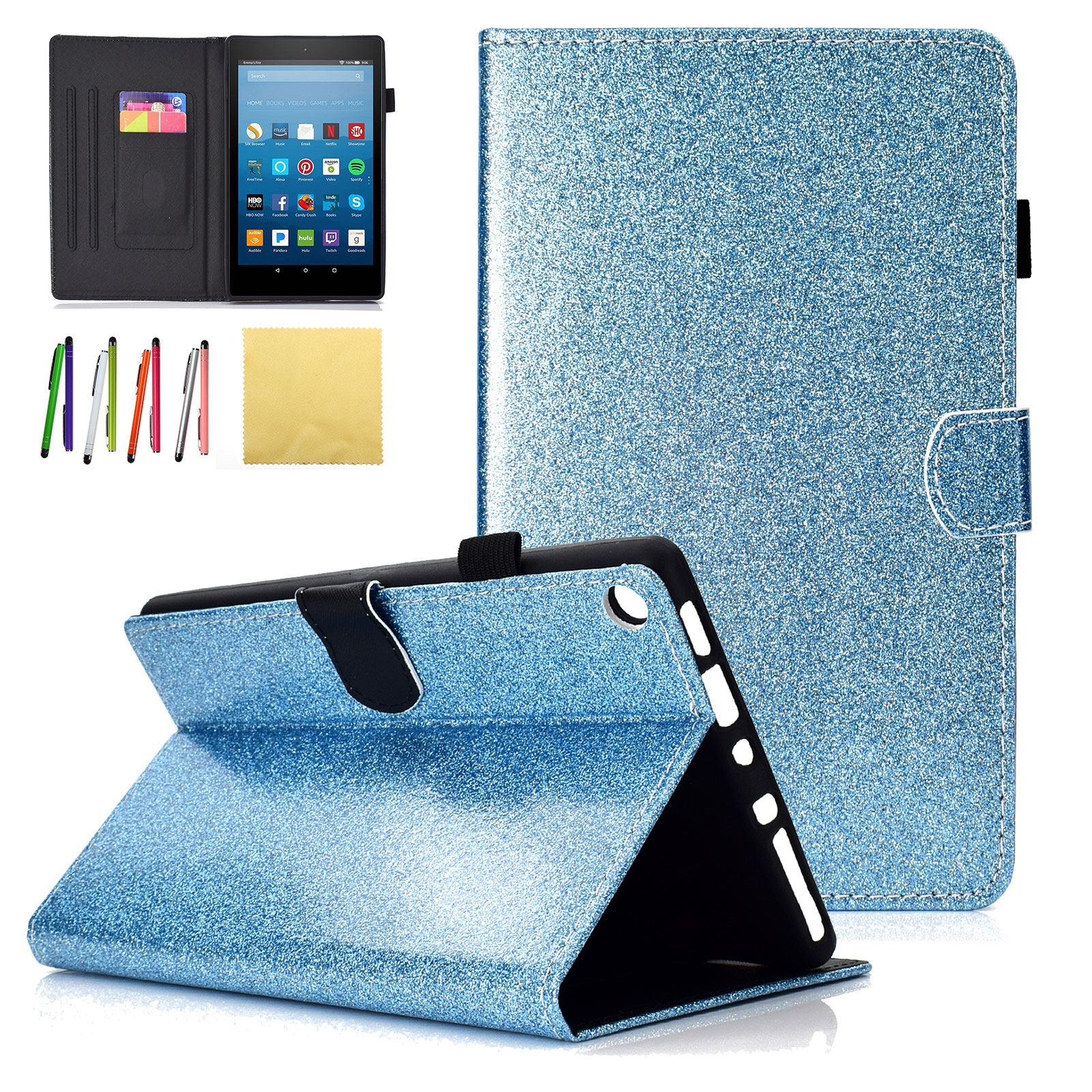 Fire HD 8 2018 2017 2016 & 2015 Kids Case, Goodest Slim Folio Glitter Stand Smart Case Covers w/Auto Sleep/Wake for All New Amazon Kindle Fire HD 8.0 inch (8th 7th 6th 5th Generation), Blue