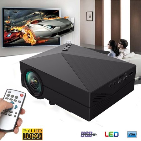 Portable Home Theater HD 1080P Mini LCD Projector with AV SD USB cinemaprojector VGA Function Family Day Best (Best Cheap Mini Projector 2019)
