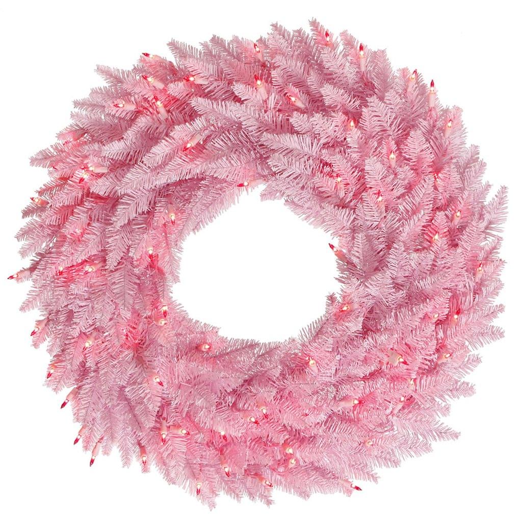"""Vickerman 28303 - 60"""" Pink Fir  200 Pink Miniature Lights Christmas Wreath (K123861)"""