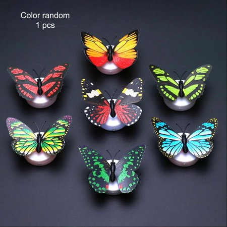Cute Butterfly LED Light Color Changing Night Light Home Room Desk Wall Decor - image 1 of 9
