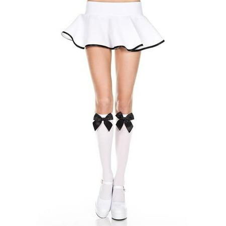 Music Legs 5722-WHITE-BLACK Satin Bow Knee High Socks, White & Black