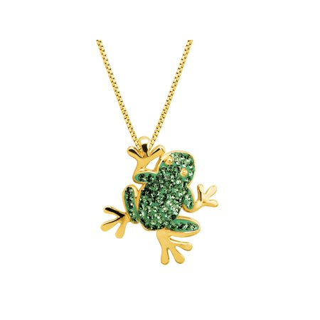 Luminesse Frog Pendant Necklace with Swarovski Crystals in 18kt Gold-Plated Sterling Silver Swarovski Crystal Gold Plated Pendant