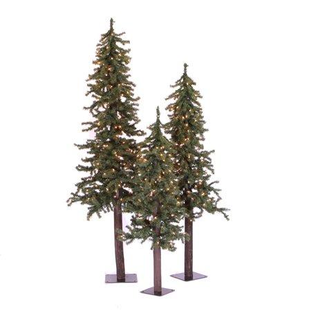Set Of 3 Large Rustic Alpine Artificial Christmas Trees Unlit