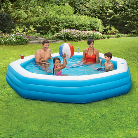 Summer Waves Inflatable 9' Octagon Family Swimming Pool, - Small Blow Up Pool