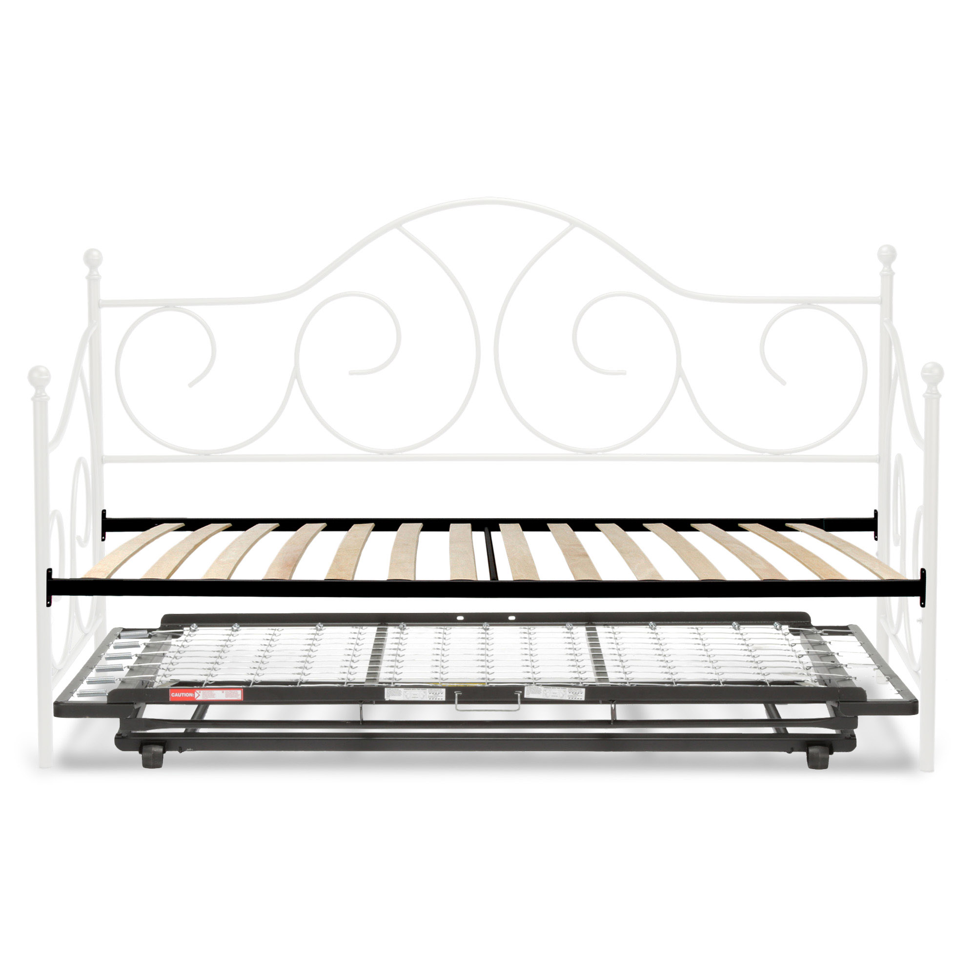 Caroline Complete Metal Day Bed with Euro Top Deck and Trundle Bed Pop-Up Frame, Antique White Finish, Twin by Fashion Bed Group