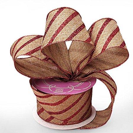 Red Glitter Striped Christmas Ribbon - 2 1/2