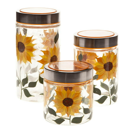 Walter Drake Sunflower Canisters, Set of 3 in Different Sizes, Clear Glass with Painted Design & Metal - Spun Metal Lid