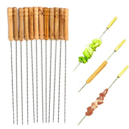 12Pcs Steel Metal BBQ Roast Barbecue Skewer Grill Kebab Needles Stick Wood Handle - Kabob Sticks