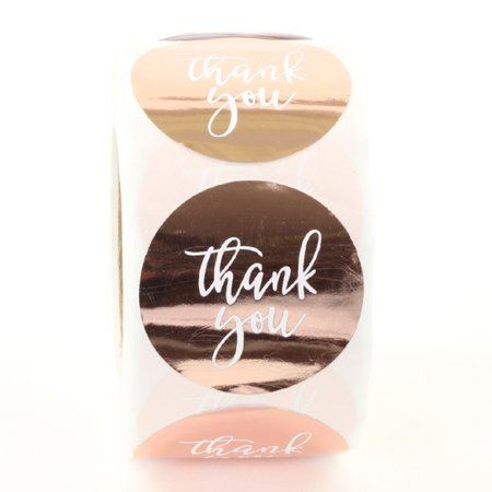 Stickers Wholesale (Koyal Wholesale Label Stickers Rose Gold Foil Thank You Labels Roll, 1.5-inch Stickers Round Circle, 500)
