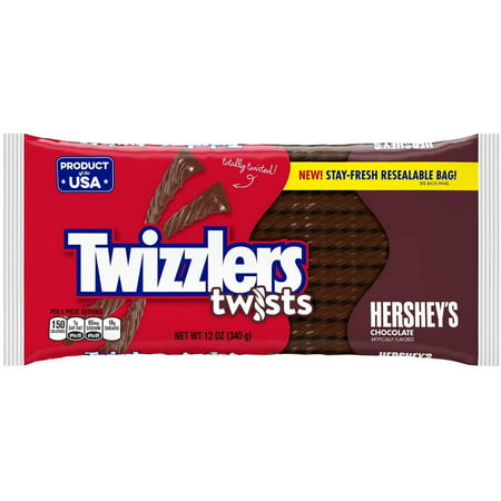 (3 Pack) Twizzlers, Chocolate Twists Licorice Chewy Candy, 12 - Chocolate Candy Buffet