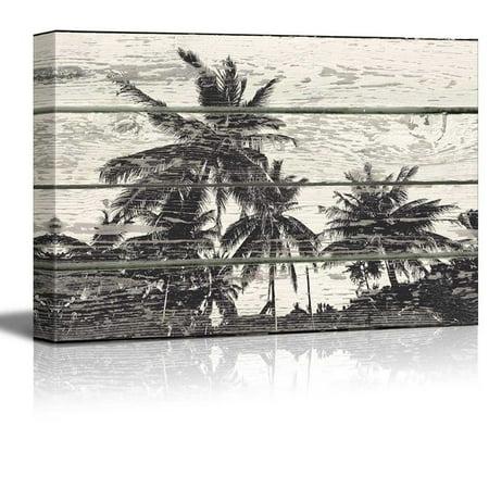 Wall26 - Palm Tree WoodCut Print Artwork - Rustic Canvas Wall Art Home Decor - 32x48 inches