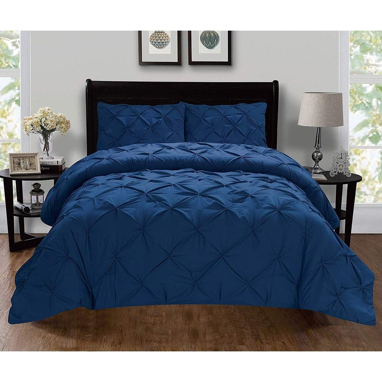 Elegant Comfort  Luxury Super-Soft 3-Piece Pintuck Design Duvet Cover Set, (Insert Comforter Protector) Wrinkle-Free