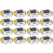16 Pack Yellow Solar Power LED Road Stud Driveway Pathway Stair Deck Dock Lights