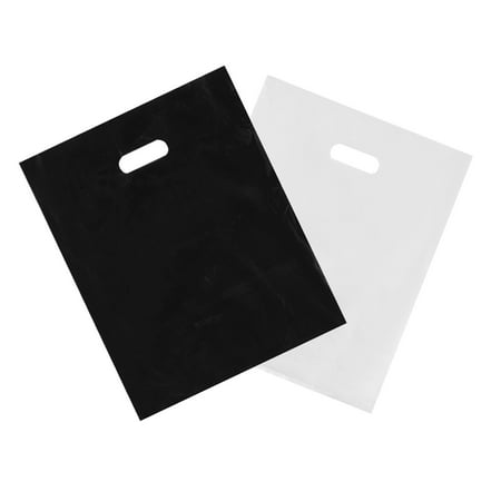 "Houseables Merchandise Bags, Retail Shopping Goodie Bag, Plastic, 16"" x 18"", 100 Pack, 1.75 Mil Thick, Low Density, Glossy, Black and White Color, with Handles, for Stores, Boutiques, Clothes, Books - Plastic Bags With Handles"