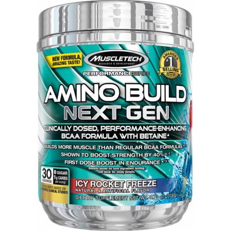 Muscletech Pre Workout Amino Build Next Gen Dietary Supplement Powder  Icy Rocket Freeze 30 Servings