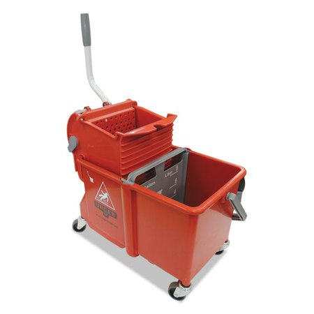 UNGER 4 Gallon Side-Press Restroom Mop Bucket Combo in Red (Restroom Mop)