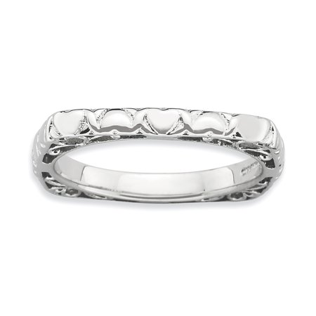 Sterling Silver Stackable Expressions Polished Rhodium-plate Square Ring Size 7 - image 3 of 3