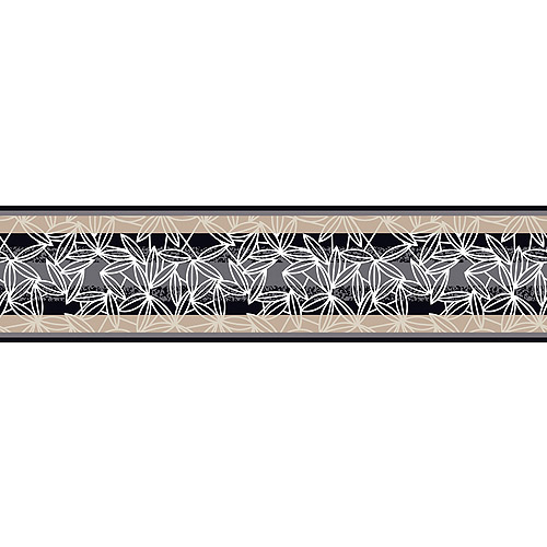 Graphic Leaves Stripe Wall Border, Black/Gray/Cream