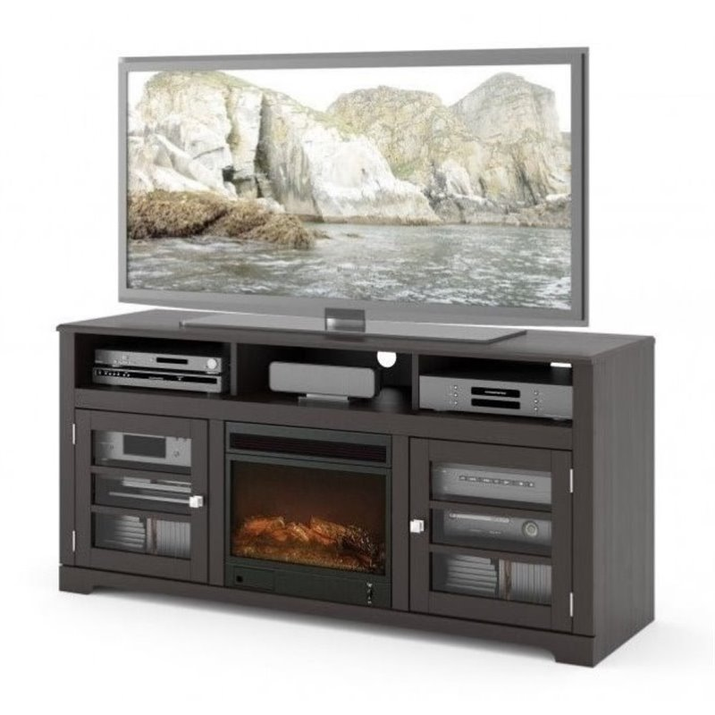 """Bowery Hill 60"""" Fireplace TV Stand in Mocha Black"""