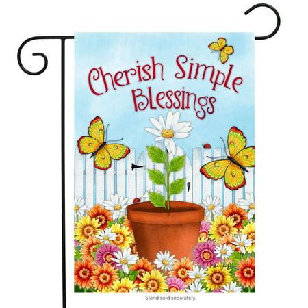 cherish simple blessings spring garden flag inspirational butterflies 12.5