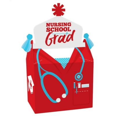 Graduation Party Items (Nurse Graduation - Treat Box Party Favors - Medical Nursing Graduation Party Goodie Gable Boxes - Set of)