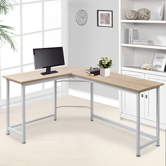 Modern Luxe L Shape Home Office Corner Computer Desk Pc Laptop Table Workstation Wood