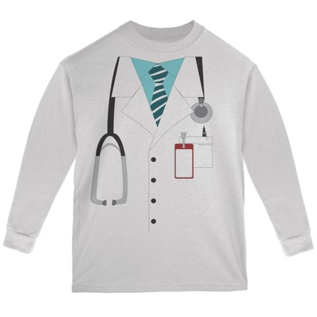 Halloween Doctor Costume White Youth Long Sleeve T-Shirt](Female Doctor Names For Halloween)
